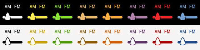 AM FM Selector - AM selected in 16 colors