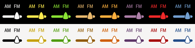 AM FM Selector - FM selected in 16 colors